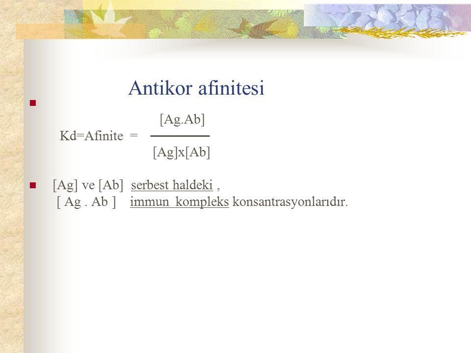 Antikor afinitesi [Ag.Ab] Kd=Afinite = [Ag]x[Ab]